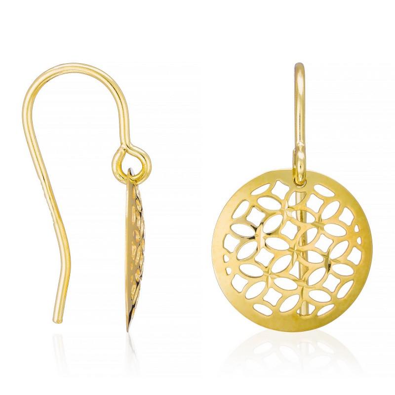 boucles d 39 oreilles dandelion or bicolore 375 mes bijoux fr. Black Bedroom Furniture Sets. Home Design Ideas