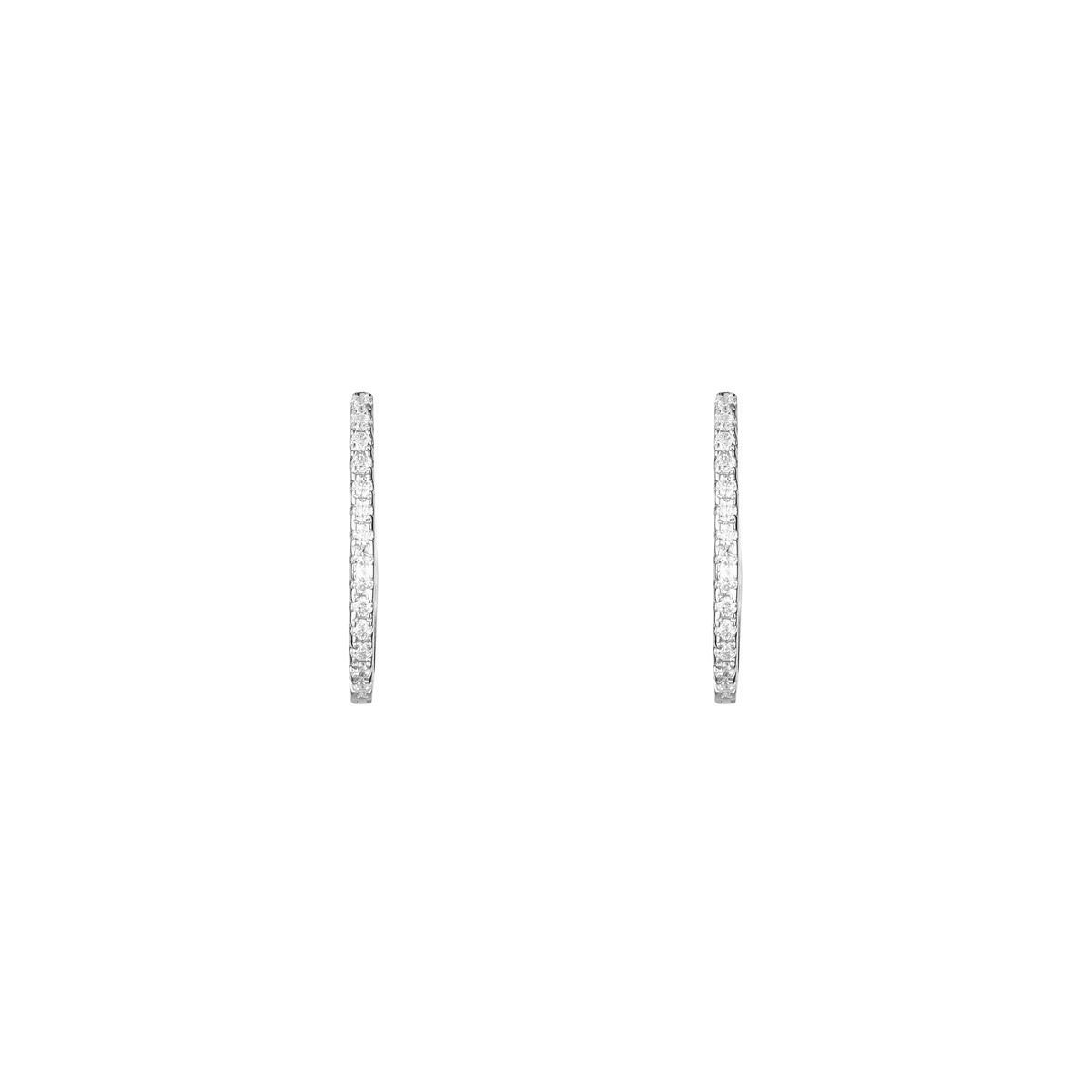 Boucles d'oreilles femme alizée Or Blanc 375 et zirconium