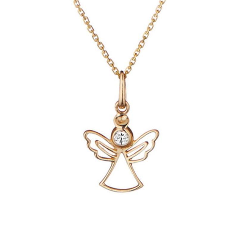 Pendentif + Chaîne femme angelot Or Jaune 375 et zirconium