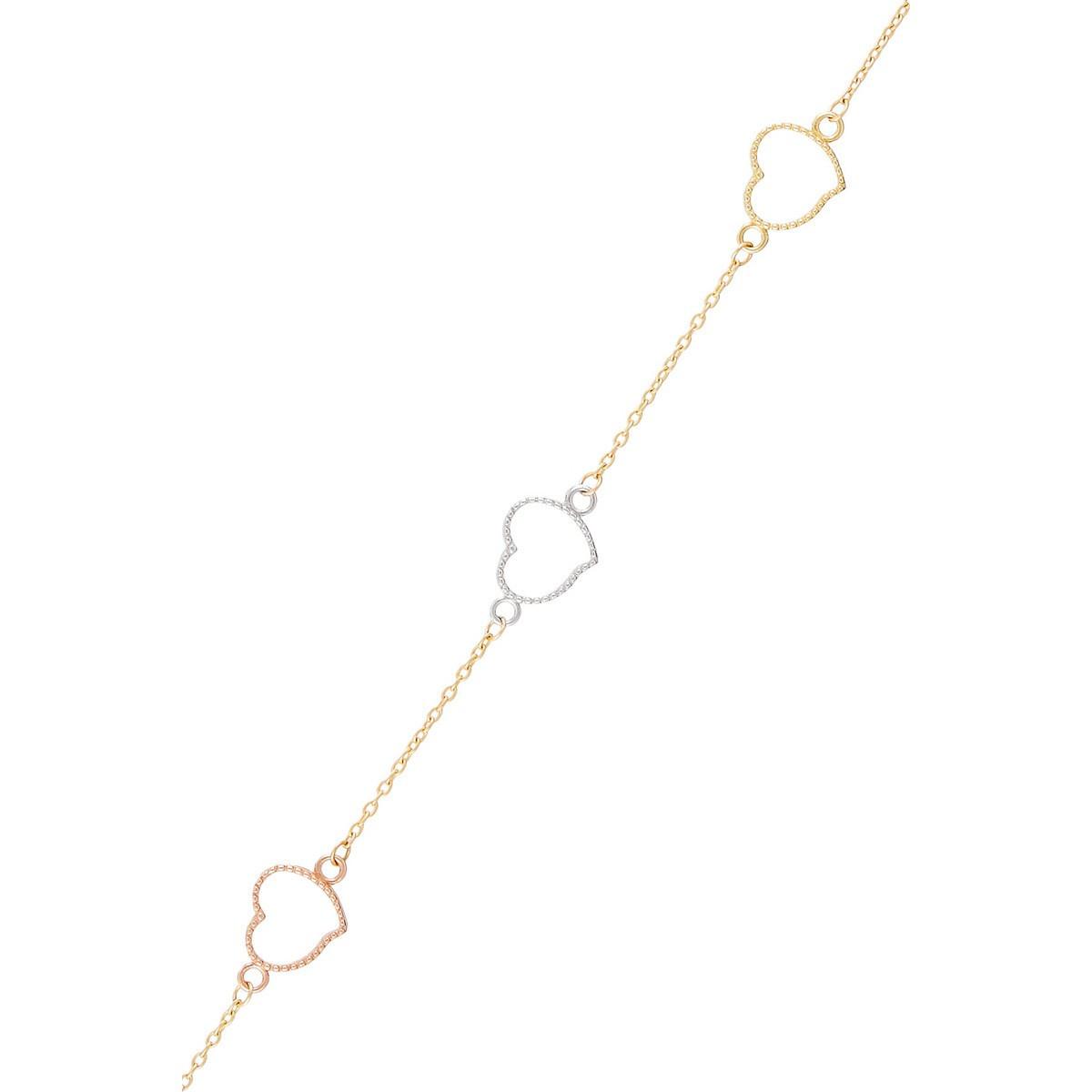 Bracelet femme amour amitié affection Or Tricolore 375