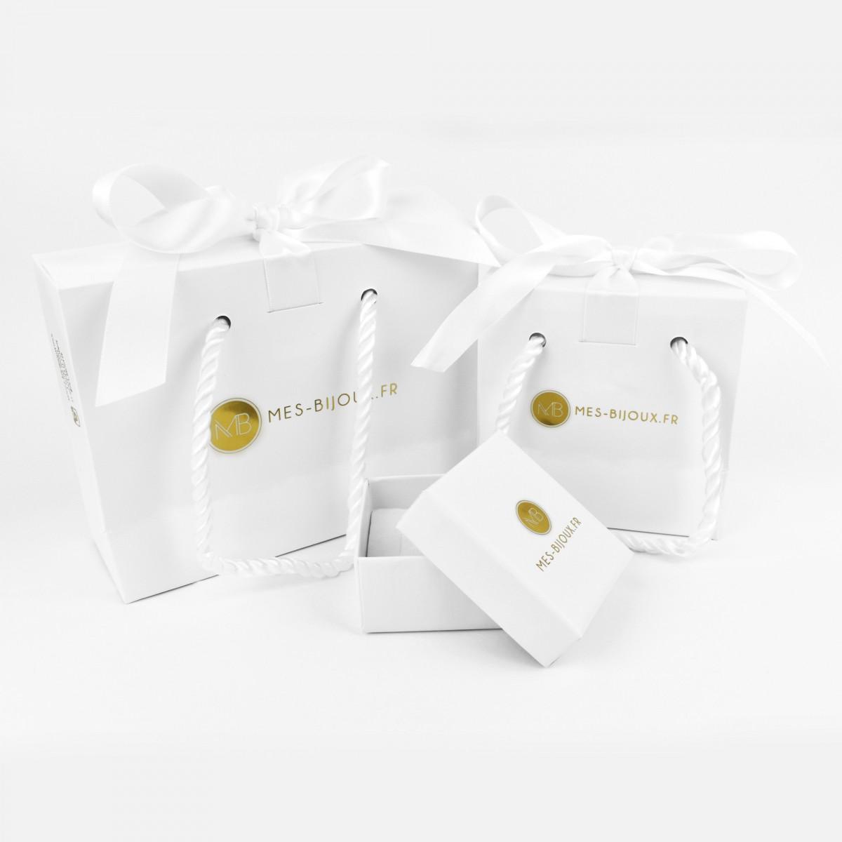 """Bracelet or blanc et oxydes de zirconium """"Barette or blanc"""""""