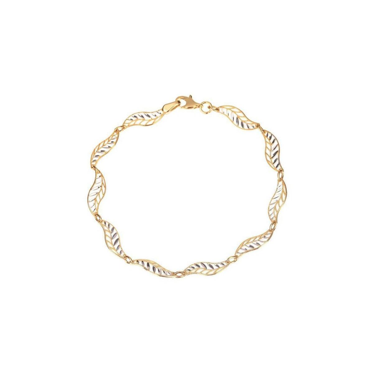 "Bracelet or bicolore ""feuillage twisté"""