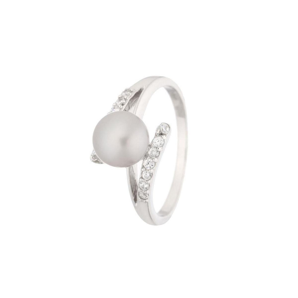 """Bague argent, perle de culture grise et oxydes de zirconium """"Perle Ensorcelante Grise"""""""