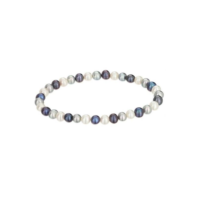 bracelet elastique diva en perles de culture blanche et grise mes bijoux fr. Black Bedroom Furniture Sets. Home Design Ideas