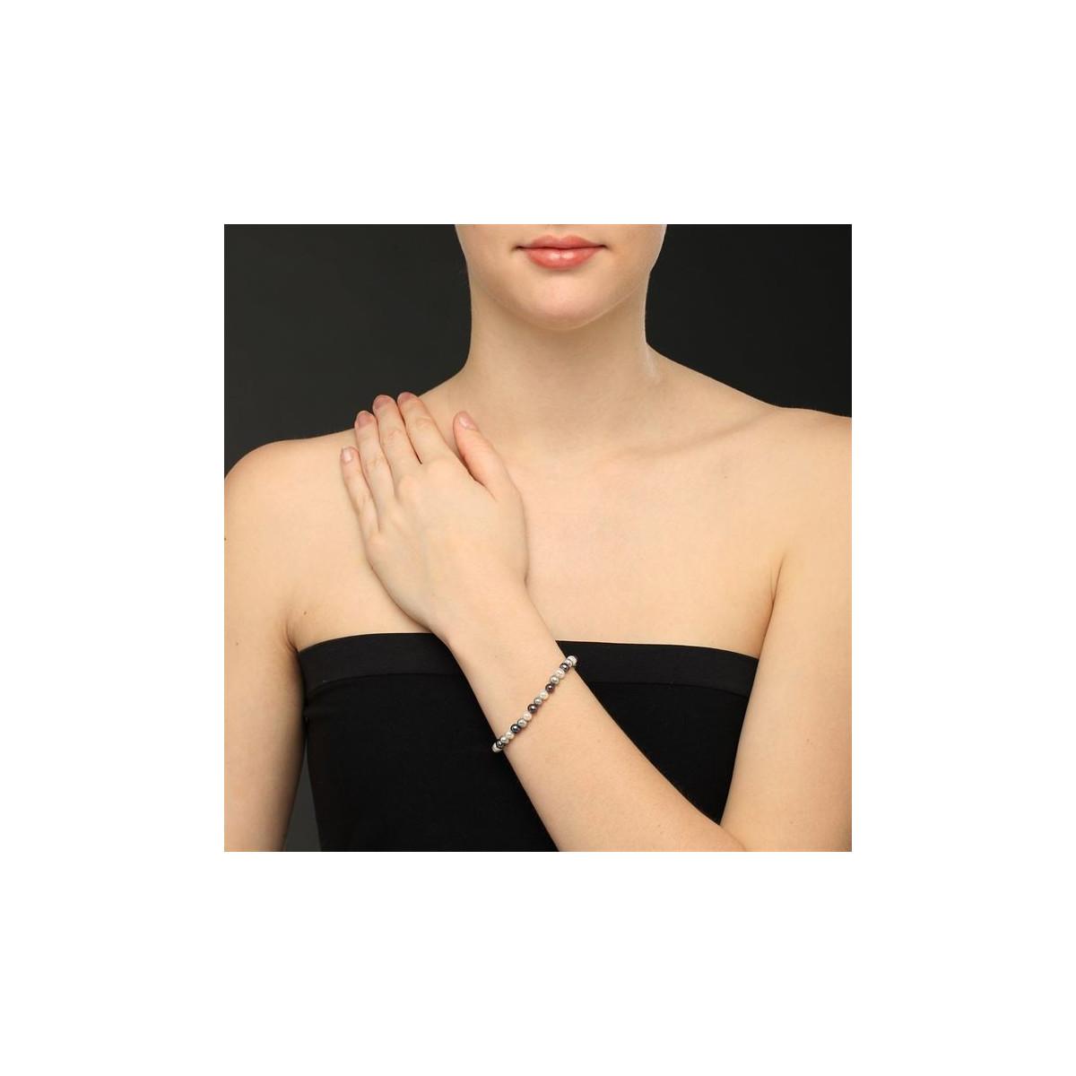 """Bracelet perles de culture blanches, grises et noires """"Diva"""""""