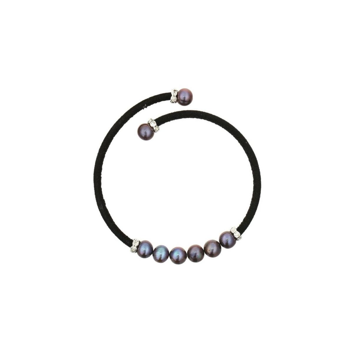 """Bracelet argent et perles de culture noires """"Magique"""""""