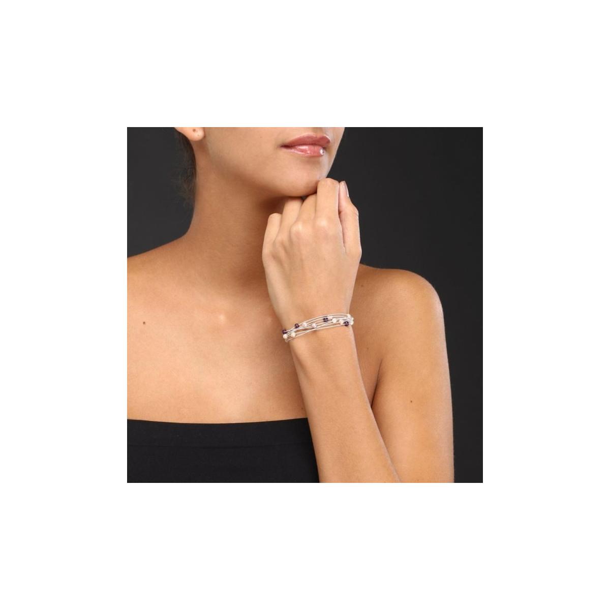"""Bracelet argent et perles de culture multicolores """"Nébuleuse"""""""