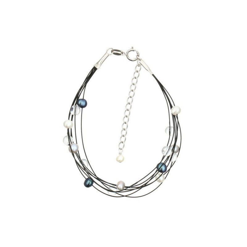 Bracelet nébuleuse en perles de culture grise et blanche sur fil semi-rigide