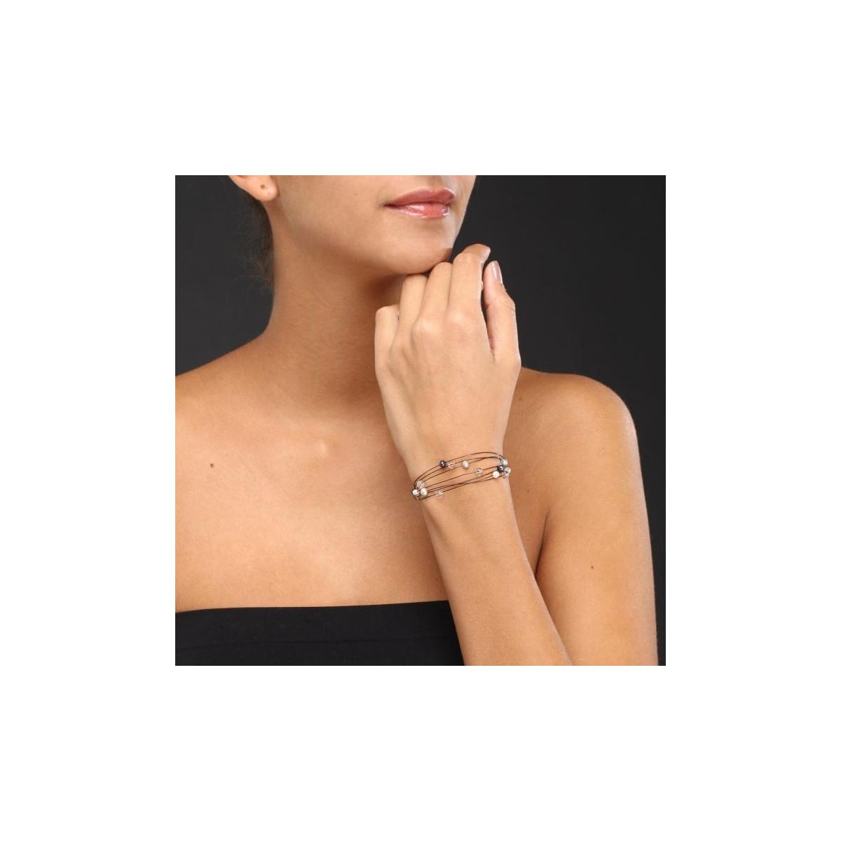 """Bracelet argent et perles de culture grises et blanches """"Nébuleuse"""""""