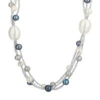 Collier  perles de culture Blanches et Grises