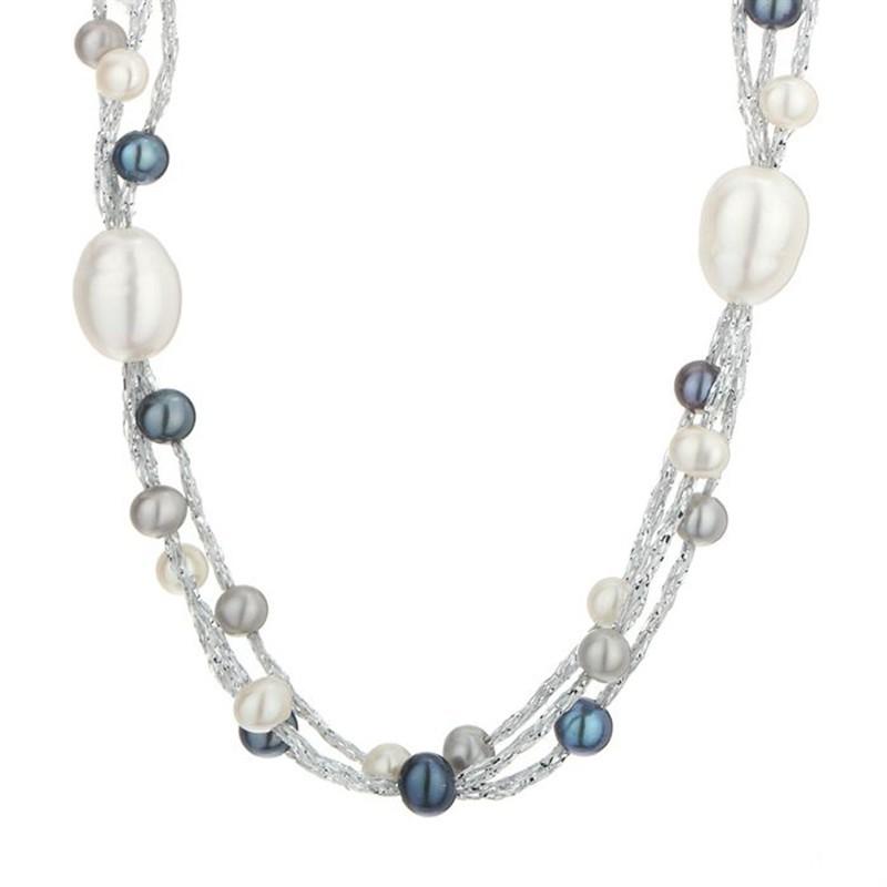 collier dreams en perles de culture blanche et grise sur fil de coton mes bijoux fr. Black Bedroom Furniture Sets. Home Design Ideas