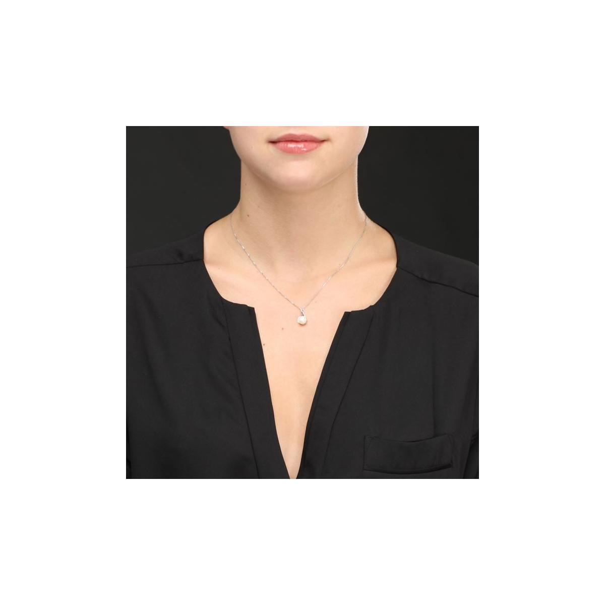 """Pendentif argent , perle de culture blanche et oxydes de zirconium """"Kiss pearl """" + chaîne argent offerte"""