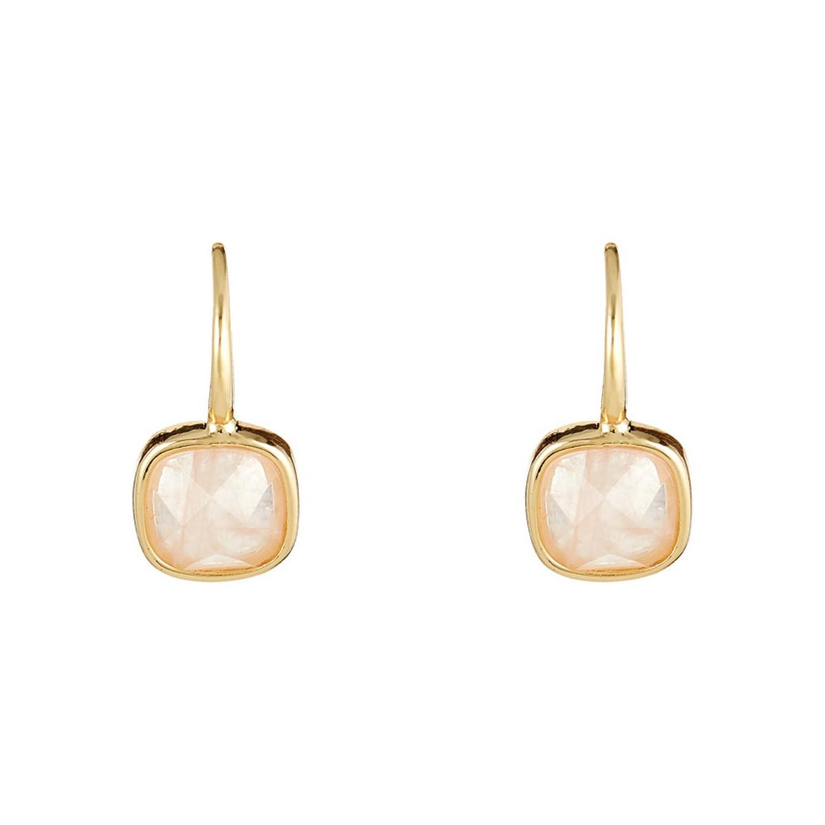 Boucles d'oreilles Ella doré et quartz rose