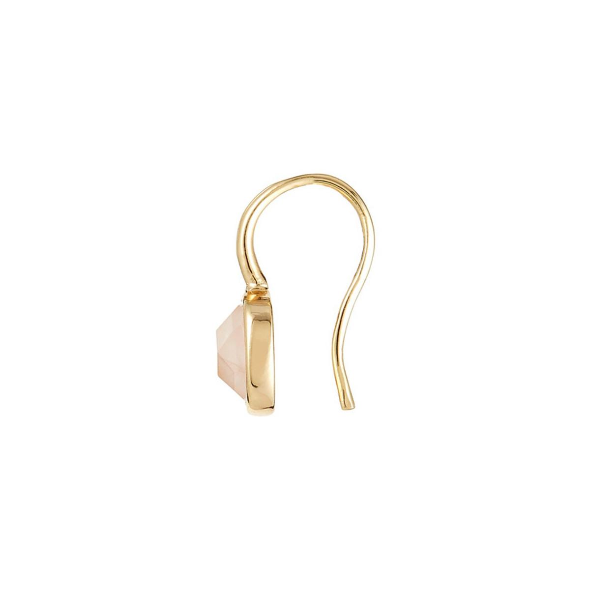 """Boucles d'oreilles laiton doré montées d'un quartz rose """"Ella"""""""