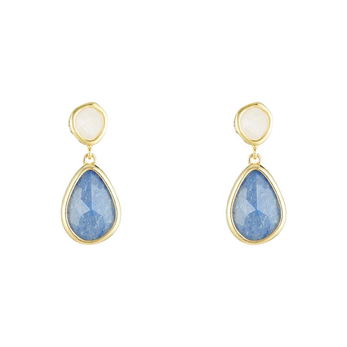 """Boucles d'oreilles laiton doré montées d'une aventurine bleue, quartz rose """"Lauren"""""""
