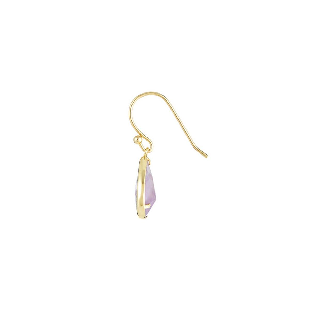 """Boucles d'oreilles laiton doré montées d'une améthyste violette """"Lila"""""""