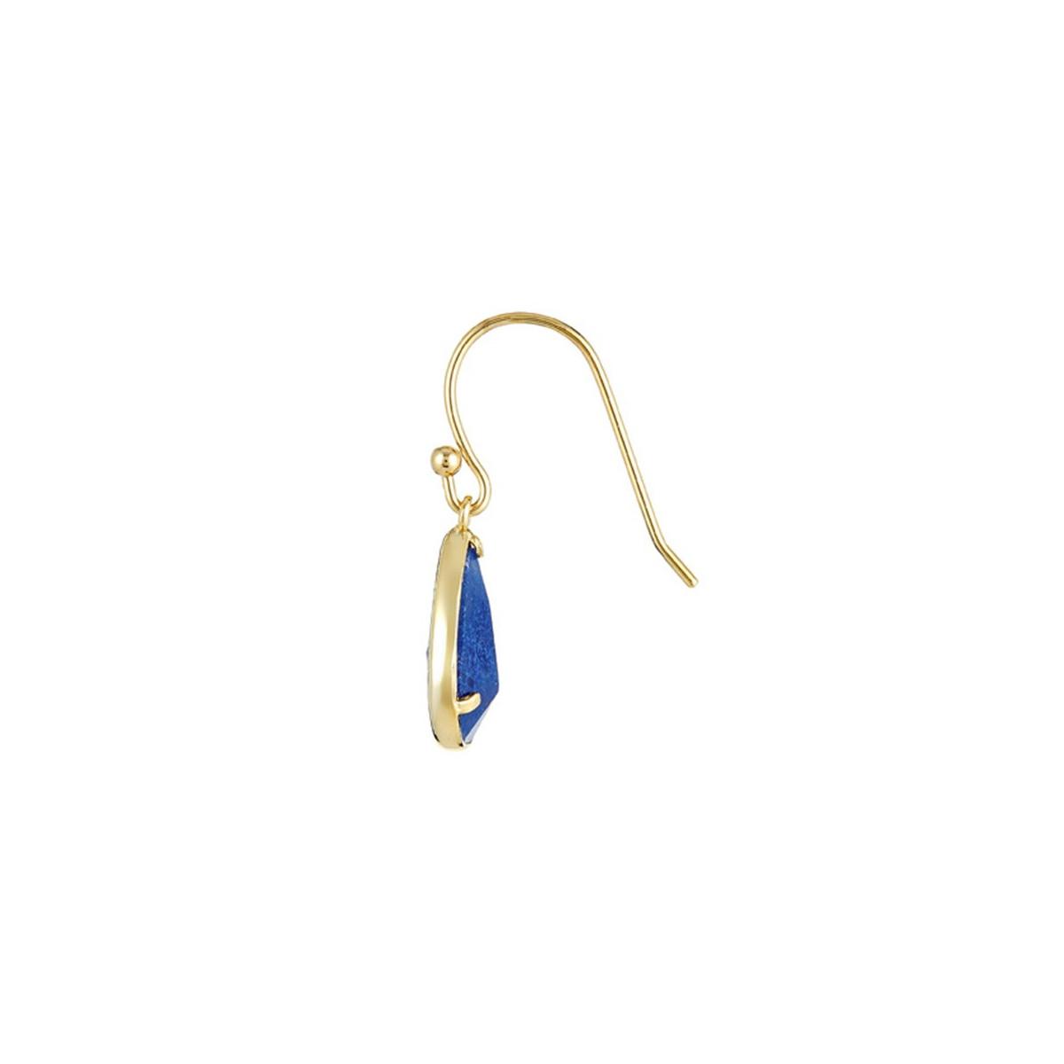 """Boucles d'oreilles laiton doré montées d'une aventurine bleue """"Lila"""""""