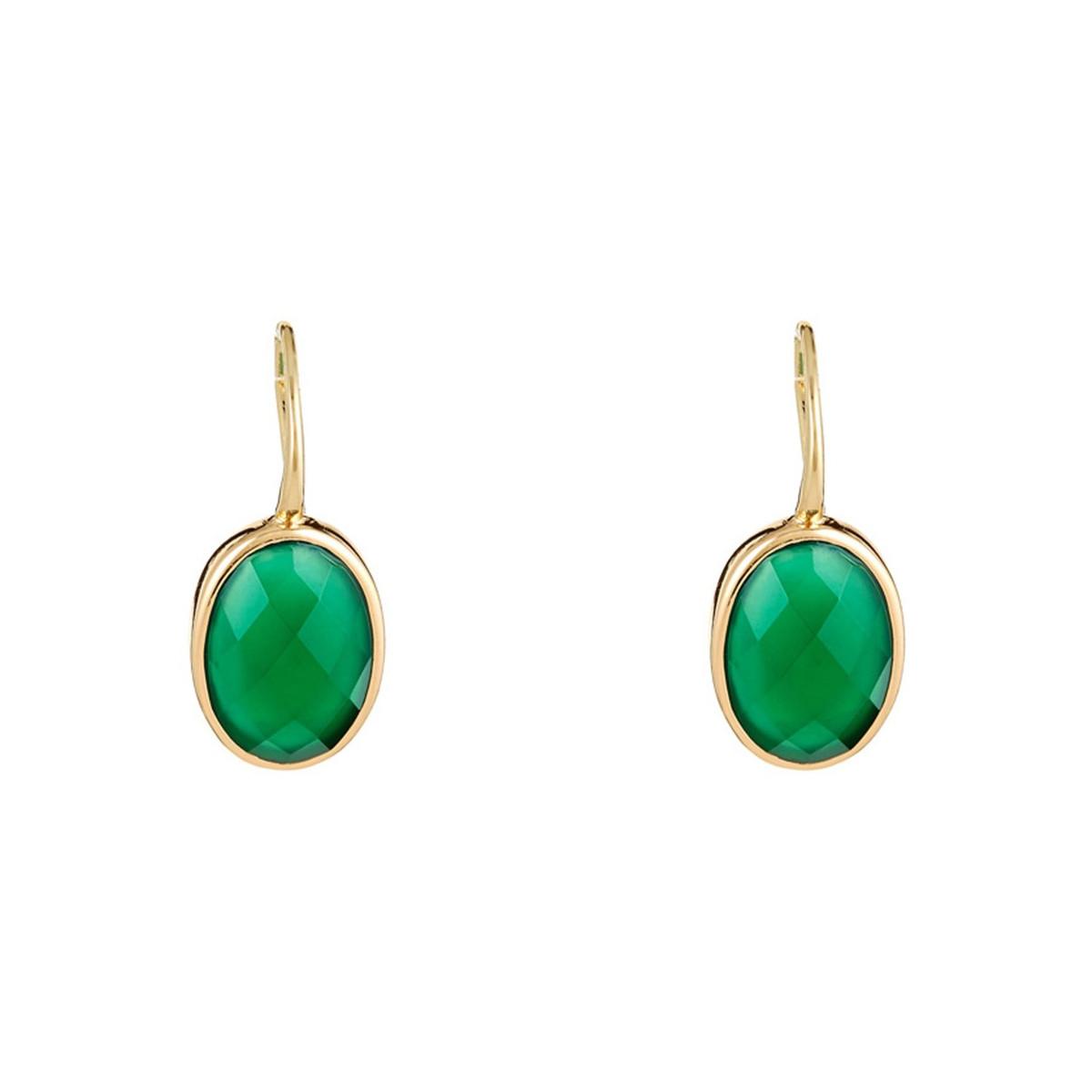 """Boucles d'oreilles laiton doré montées d'une agathe verte """"Lisa"""""""