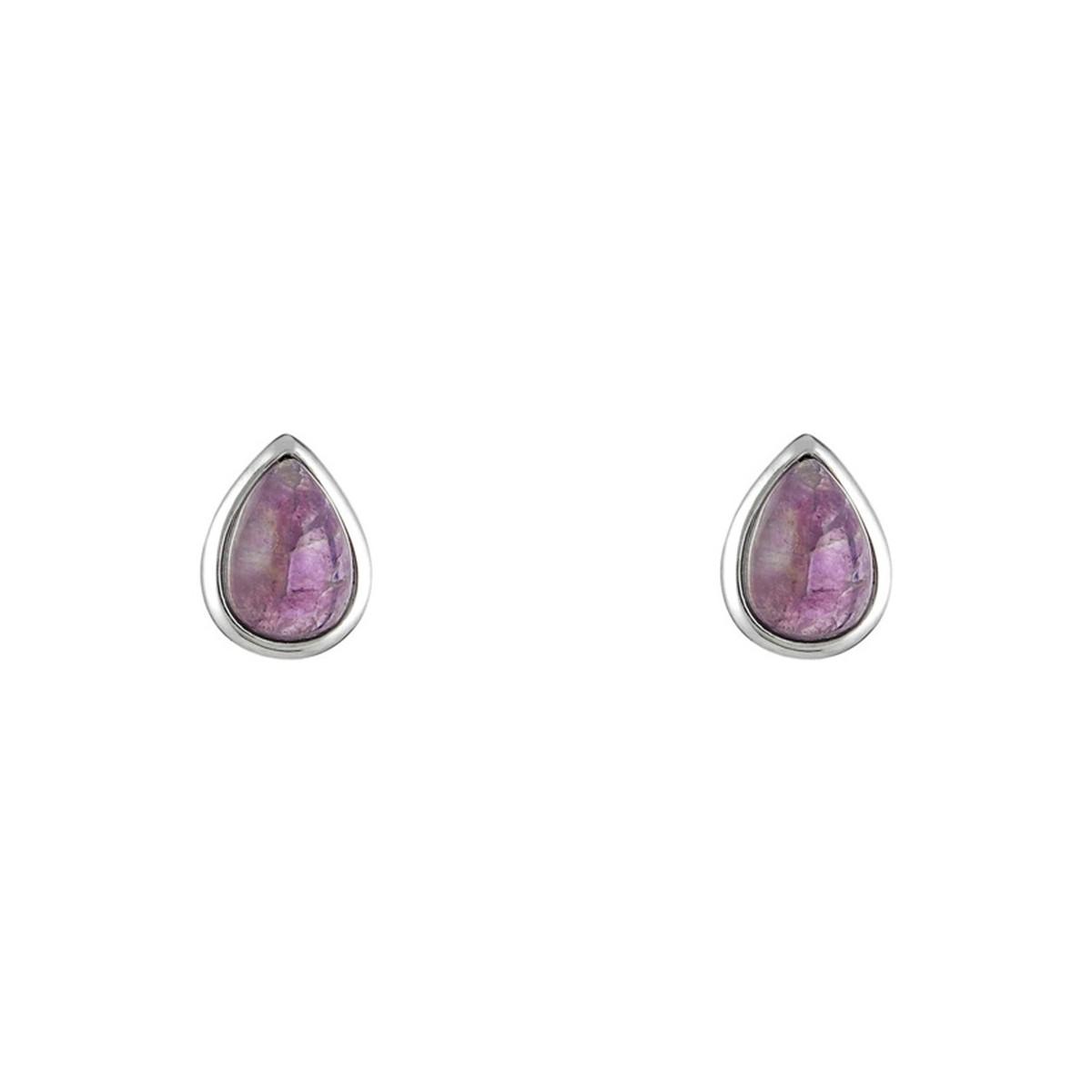"""Boucles d'oreilles laiton argenté montées d'une améthyste violette """"Lola"""""""