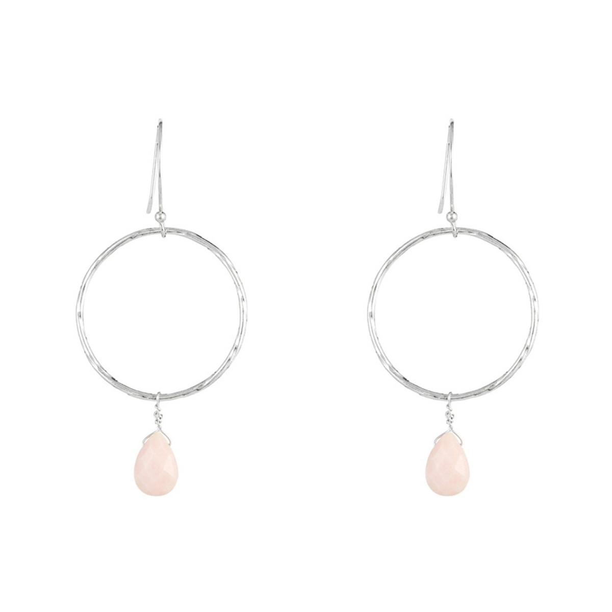 Boucles d'oreilles Noéllie Argenté et opal rose