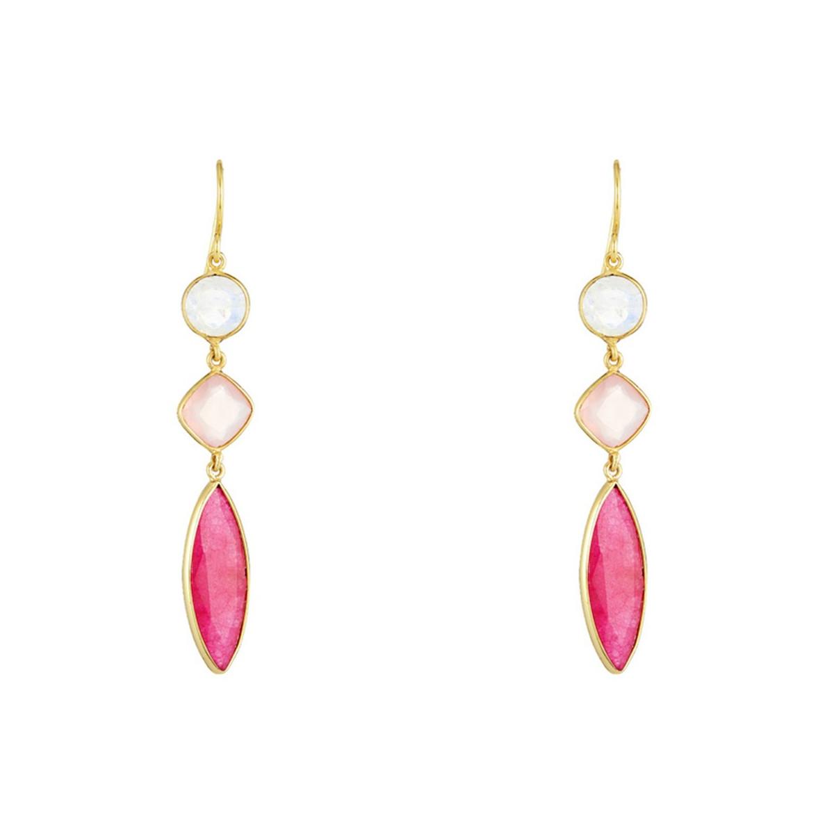 Boucles d'oreilles Pauline doré et calcédoine, aventurine, pierre de lune rose et rouge