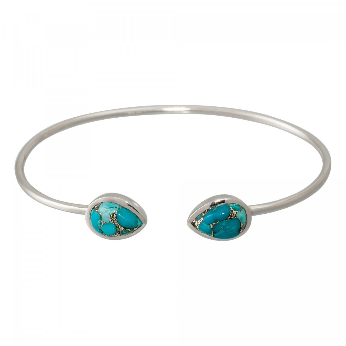 """Bracelet jonc ouvert laiton argenté monté d'une turquoise bleue """"Aude"""""""