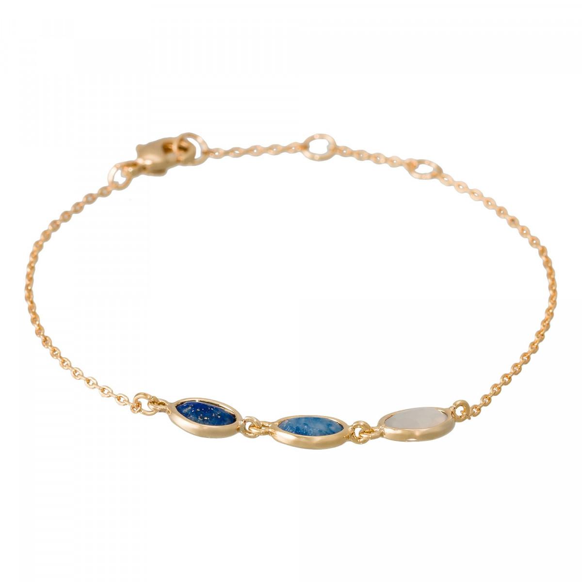 """Bracelet chaine laiton doré monté d'un lapis bleu, d'une aventurine et d'une agathe bleue """"Aurore"""""""