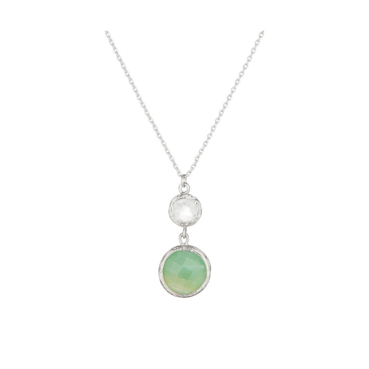Collier Maé Argenté et aventurine, crystal verte et crystal