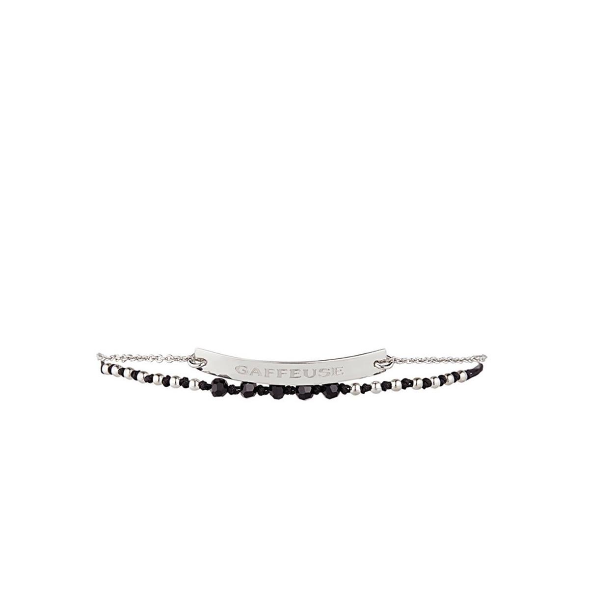 """""""GAFFEUSE"""" Bracelet chaine argenté à message"""