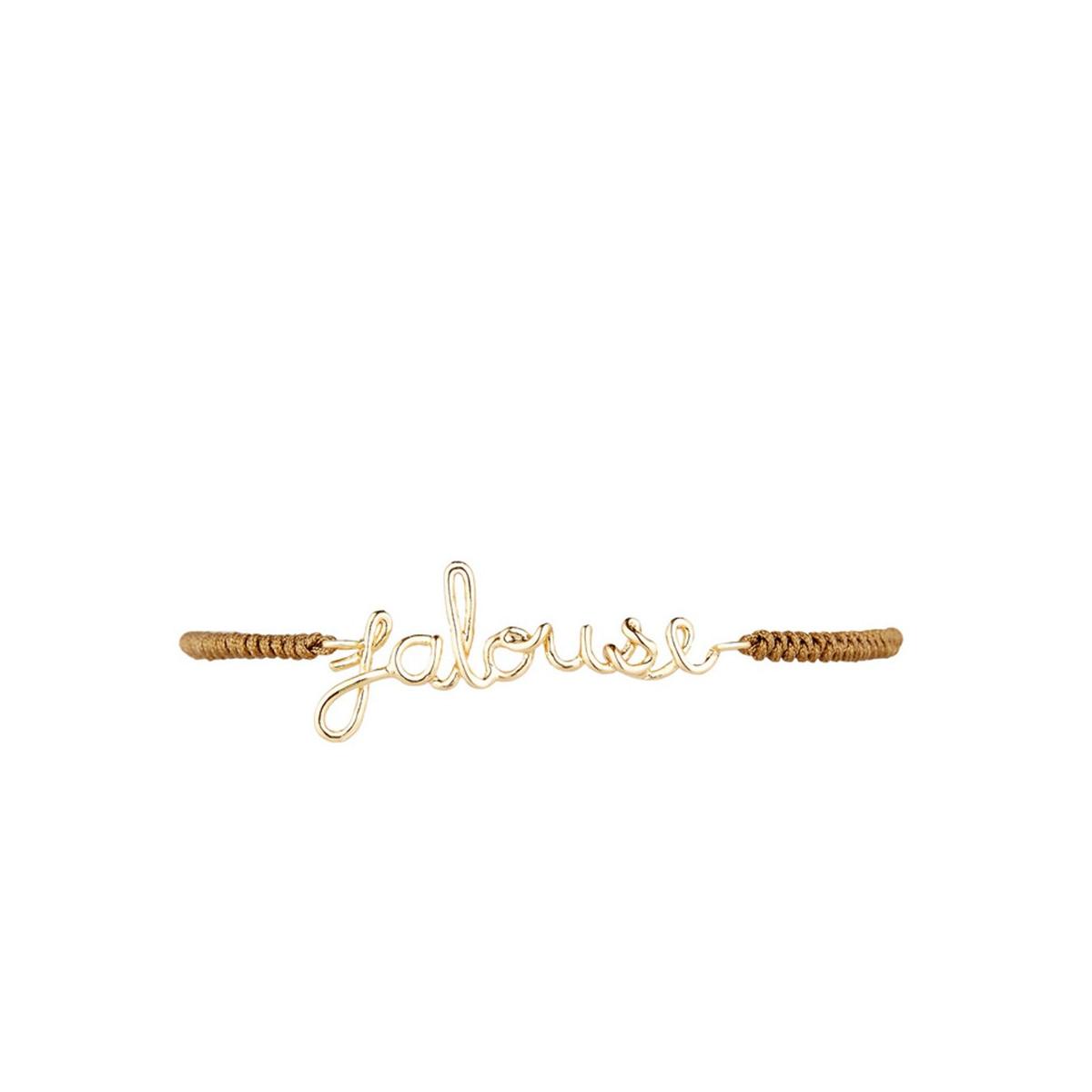 """""""JALOUSE"""" Bracelet cordon et fil lettering doré à message"""