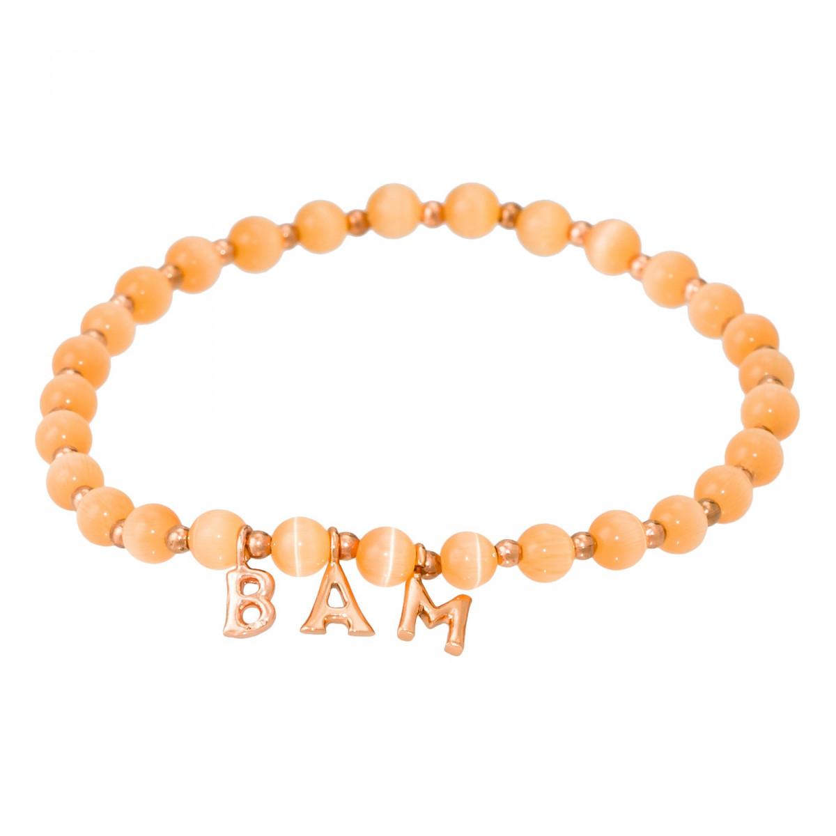 """Bracelet Jonc à message """"BAM"""" rosé"""