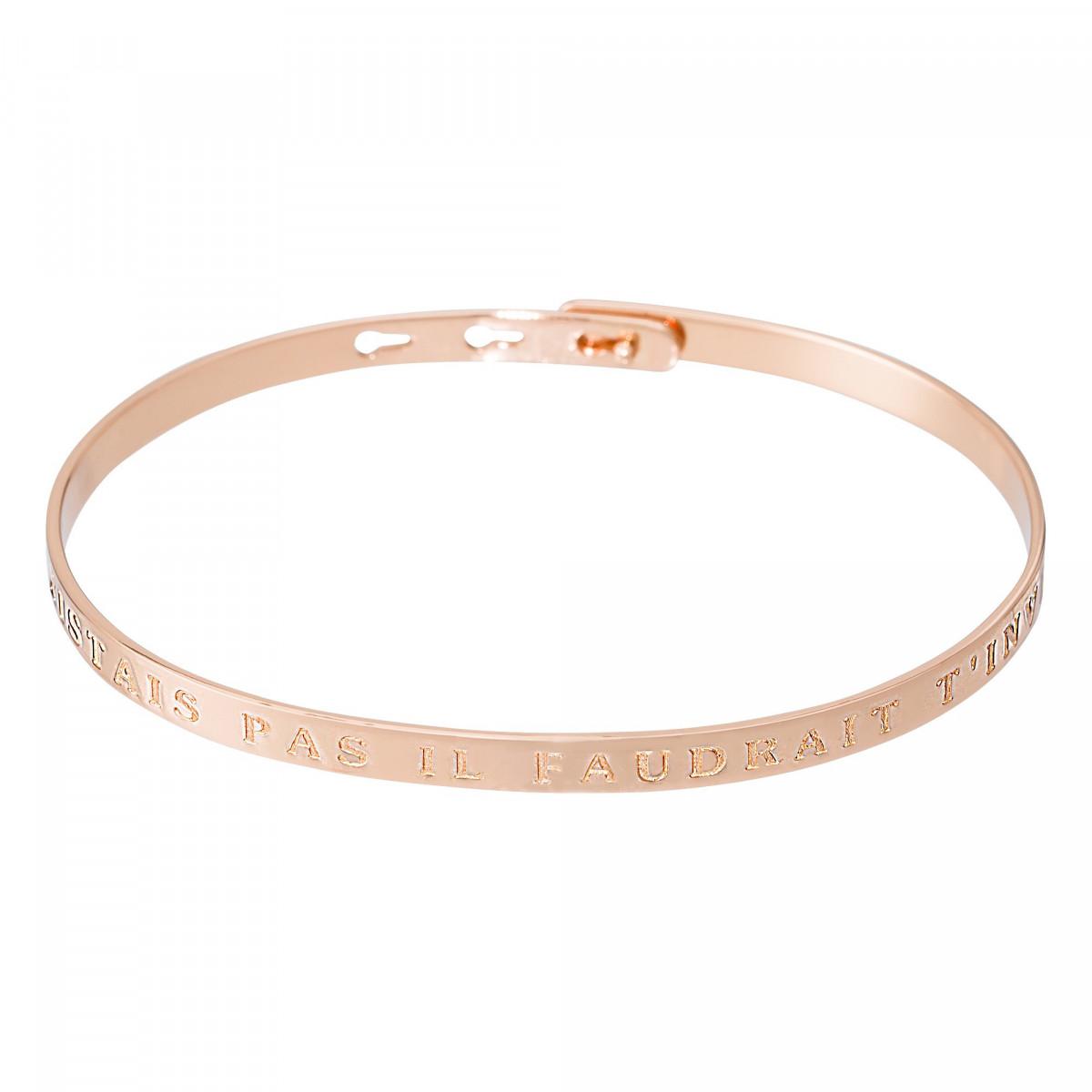"""Bracelet Jonc à message """"SI TU N""""EXISTAIS PAS IL FAUDRAIT T""""INVENTER"""" rosé"""