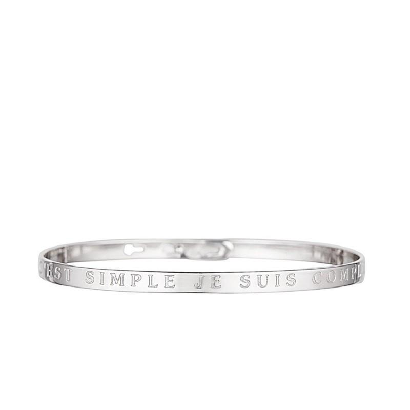 """Bracelet Jonc à message """"C""""EST SIMPLE JE SUIS COMPLIQUEE"""" argenté"""