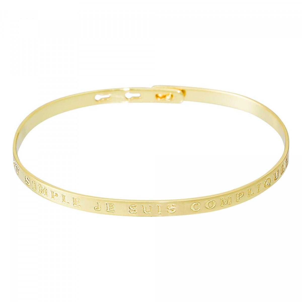 """Bracelet Jonc à message """"C""""EST SIMPLE JE SUIS COMPLIQUEE"""" doré"""