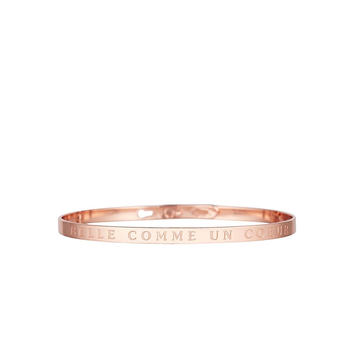 """Bracelet Jonc à message """"BELLE COMME UN CŒUR"""" rosé"""