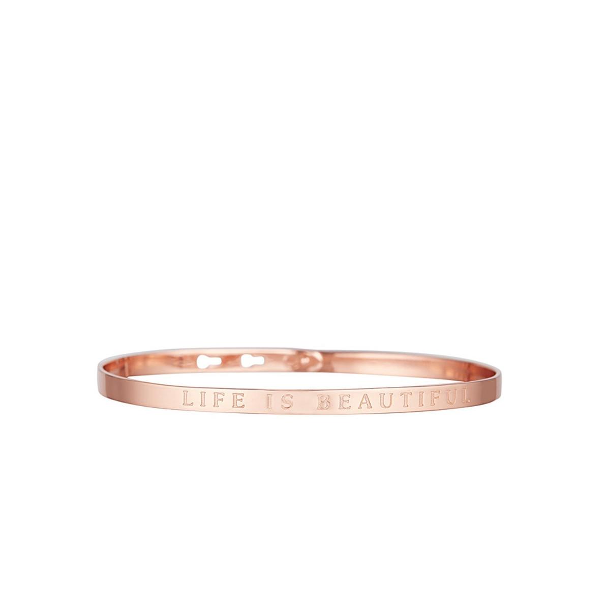 """Bracelet Jonc à message """"LIFE IS BEAUTIFUL"""" rosé"""