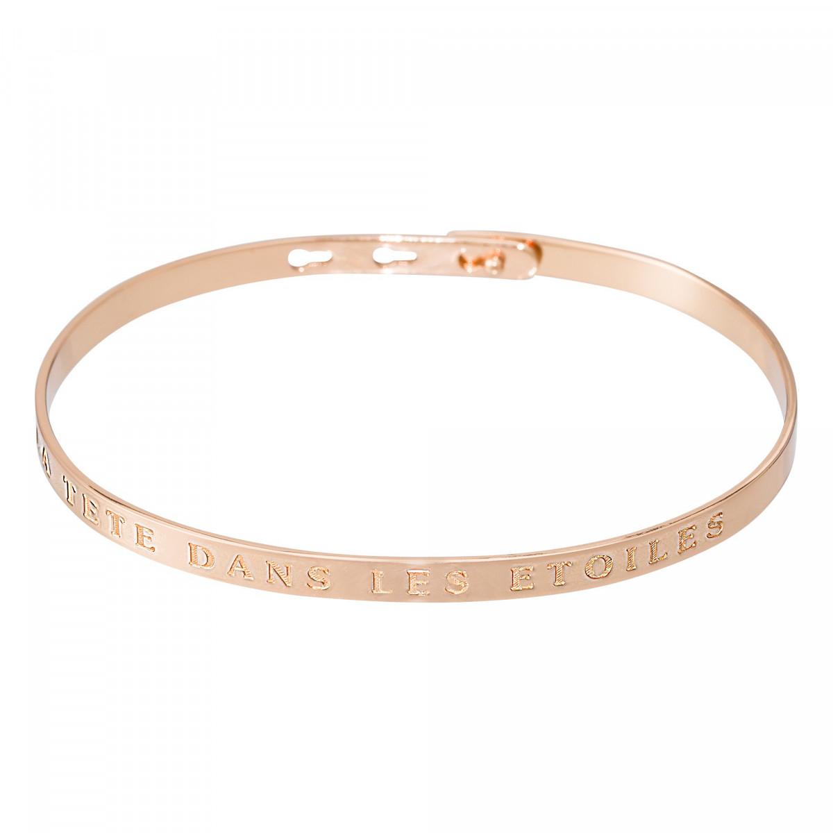 """Bracelet Jonc à message """"LA TETE DANS LES ETOILES"""" rosé"""