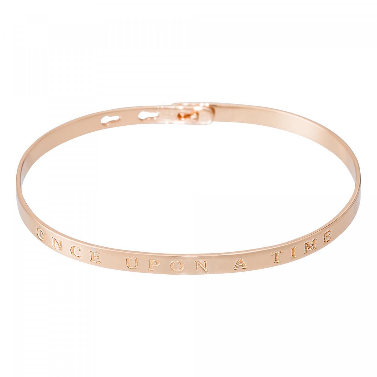 """Bracelet Jonc à message """"ONCE UPON A TIME"""" rosé"""