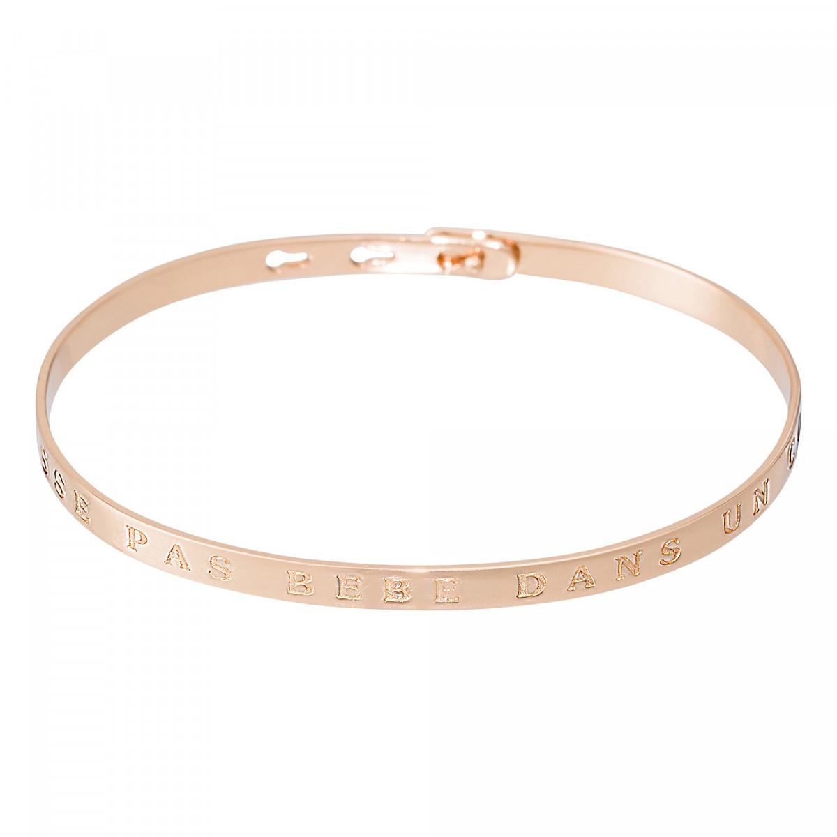 """Bracelet Jonc à message """"ON LAISSE PAS BÉBÉ DANS UN COIN"""" rosé"""