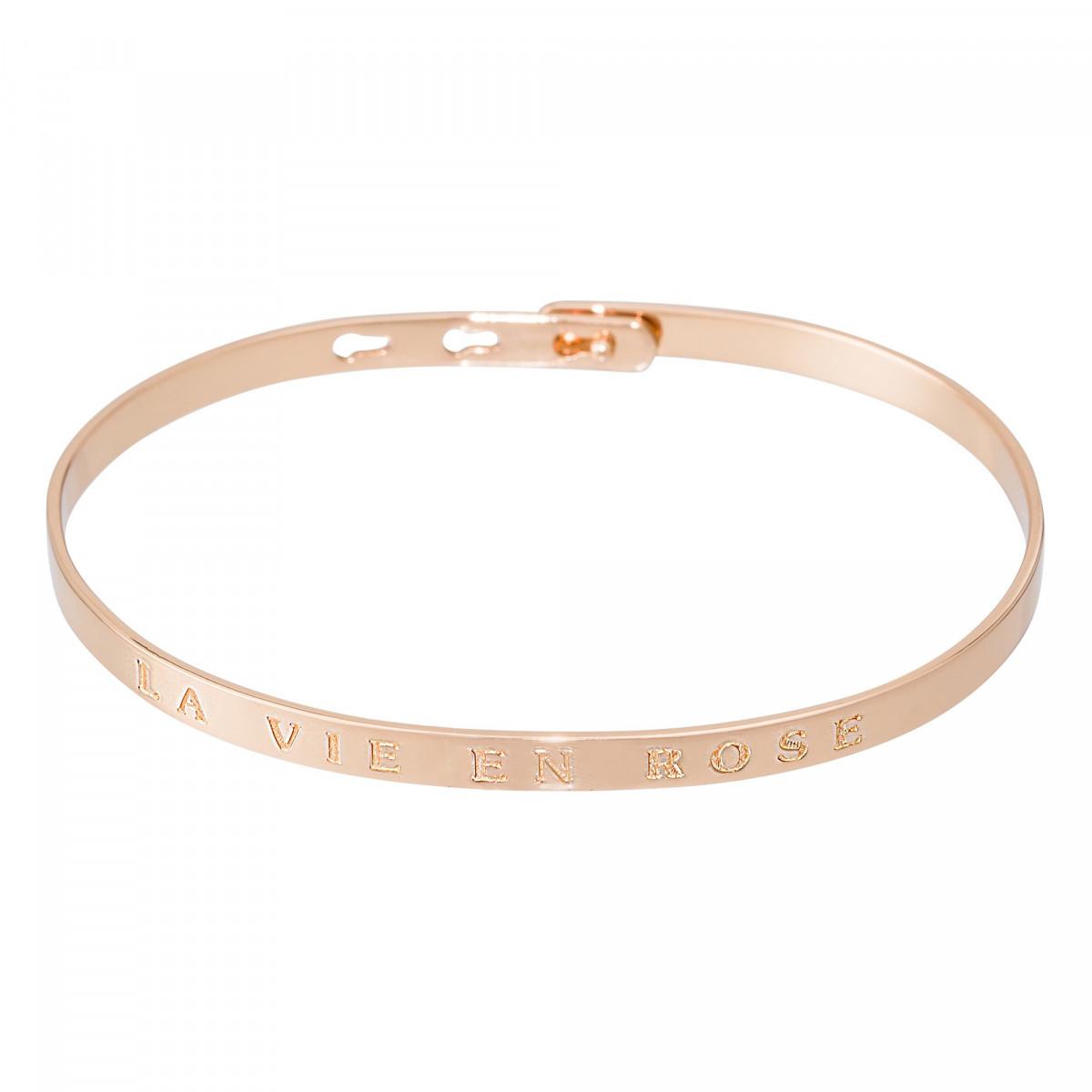 """Bracelet Jonc à message """"LA VIE EN ROSE"""" rosé"""