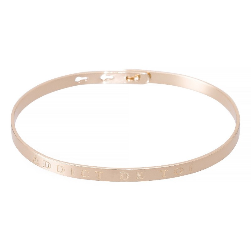 """Bracelet Jonc à message """"ADDICT DE TOI"""" rosé"""
