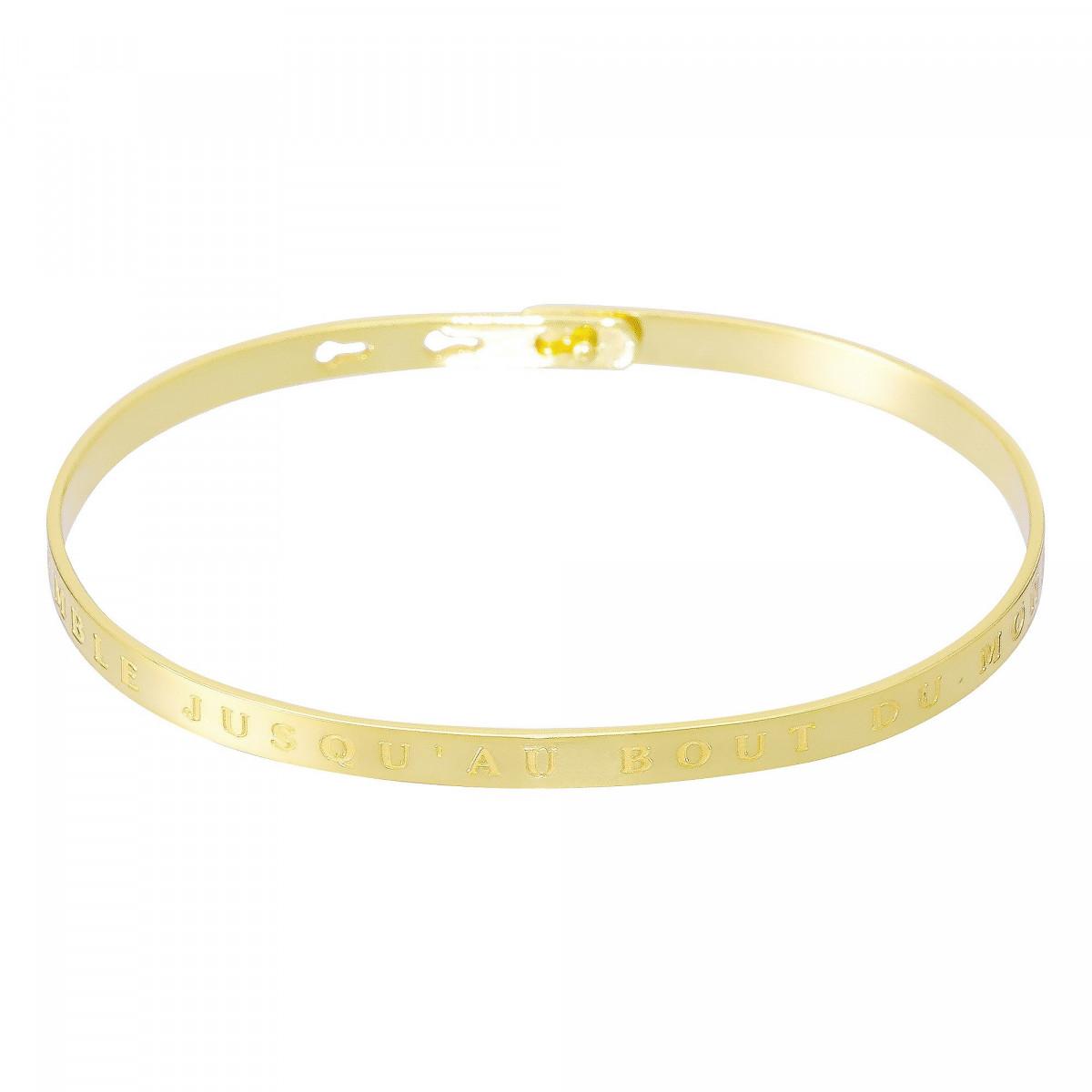 """Bracelet Jonc à message """"ENSEMBLE JUSQU""""AU BOUT DU MONDE"""" doré"""