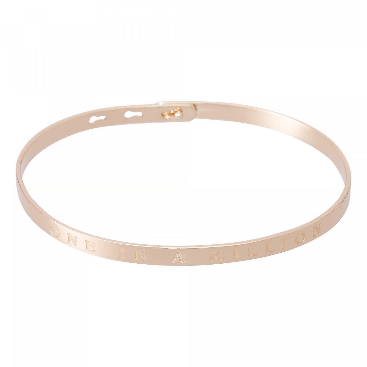 """Bracelet Jonc à message """"ONE IN A MILLION"""" rosé"""
