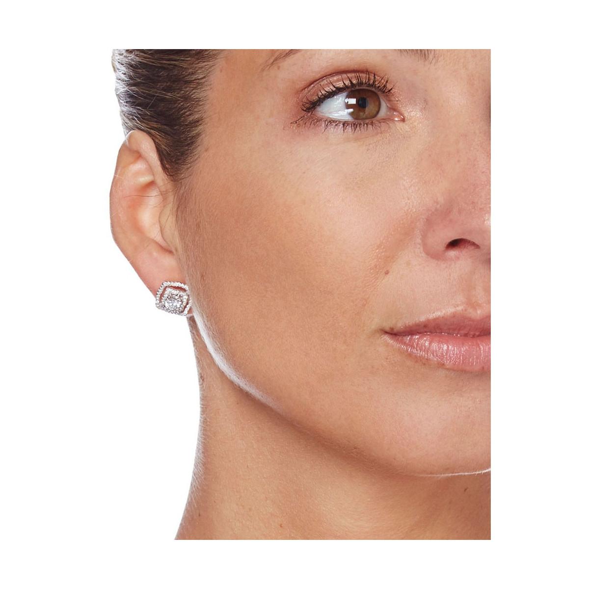 """Boucles d'oreilles argent et oxydes de zirconium """"Coussins Brillantini"""""""