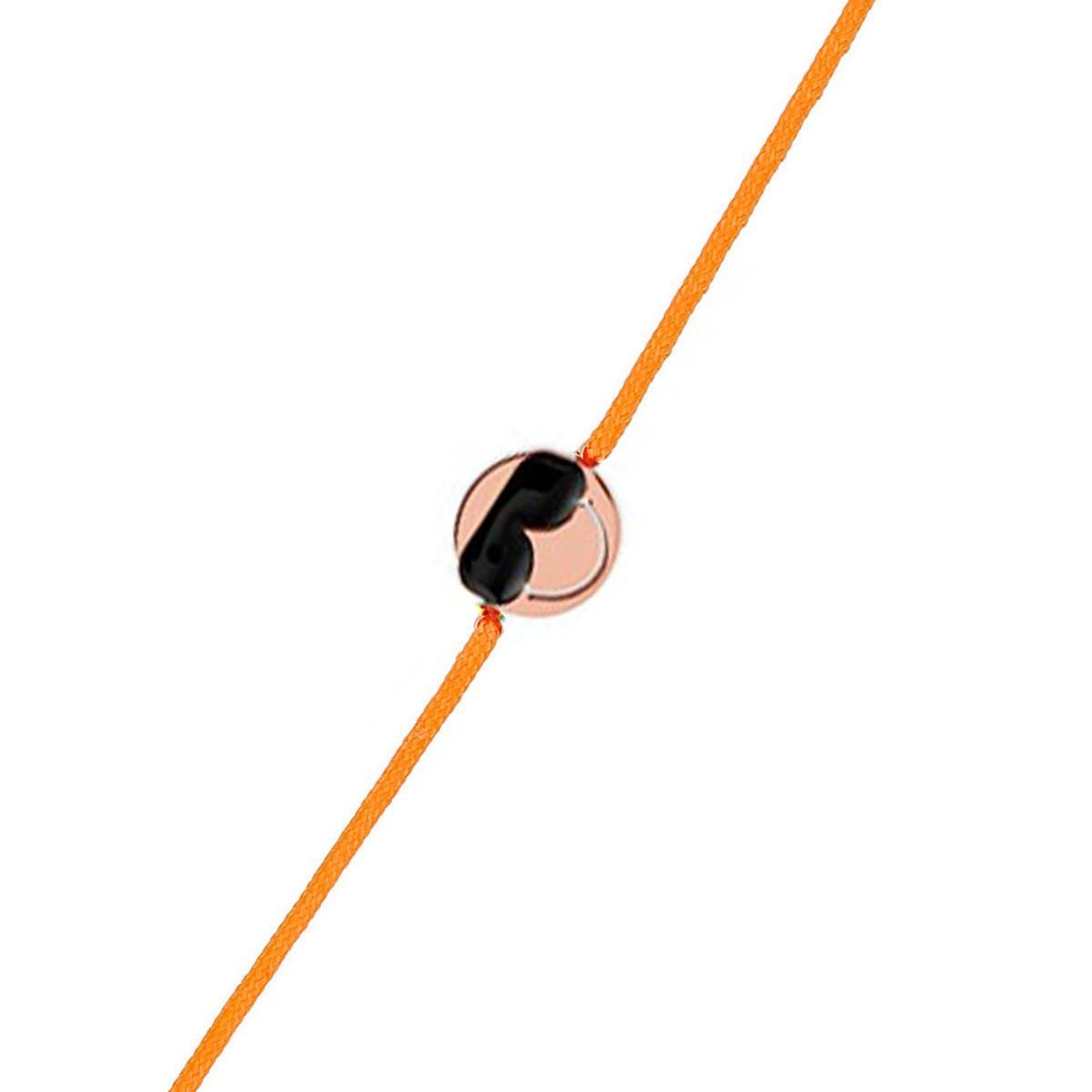 "Bracelet cordon Smiley vermeil rose et cordon orange ""Cool"""