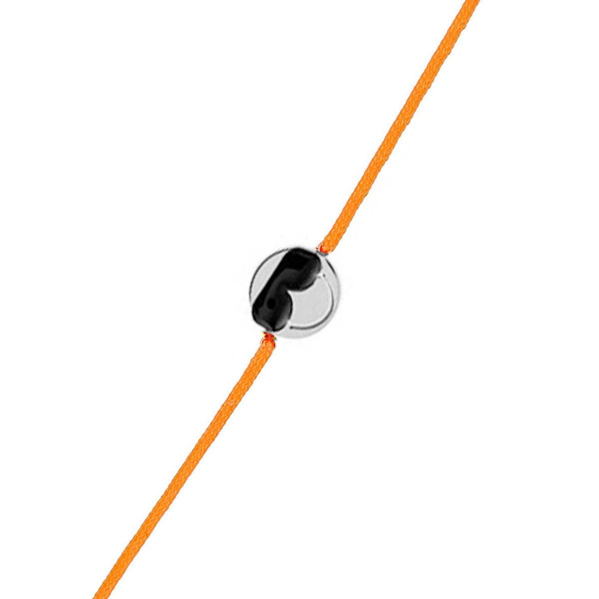 Bracelet Femme Smiley Cool Cordon Orange En Argent 925