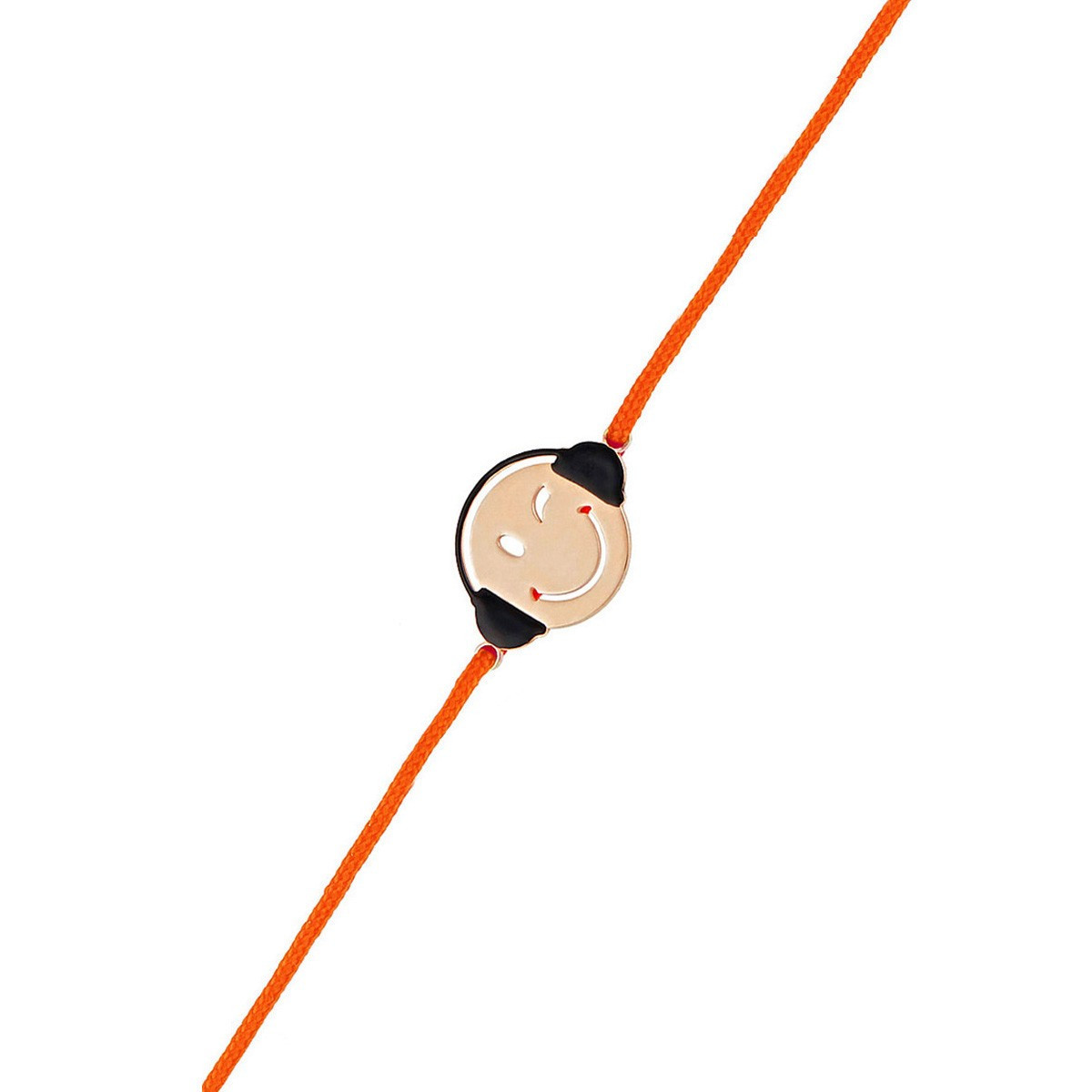 Bracelet Femme Smiley Mélomane Cordon Orange En Vermeil Rose