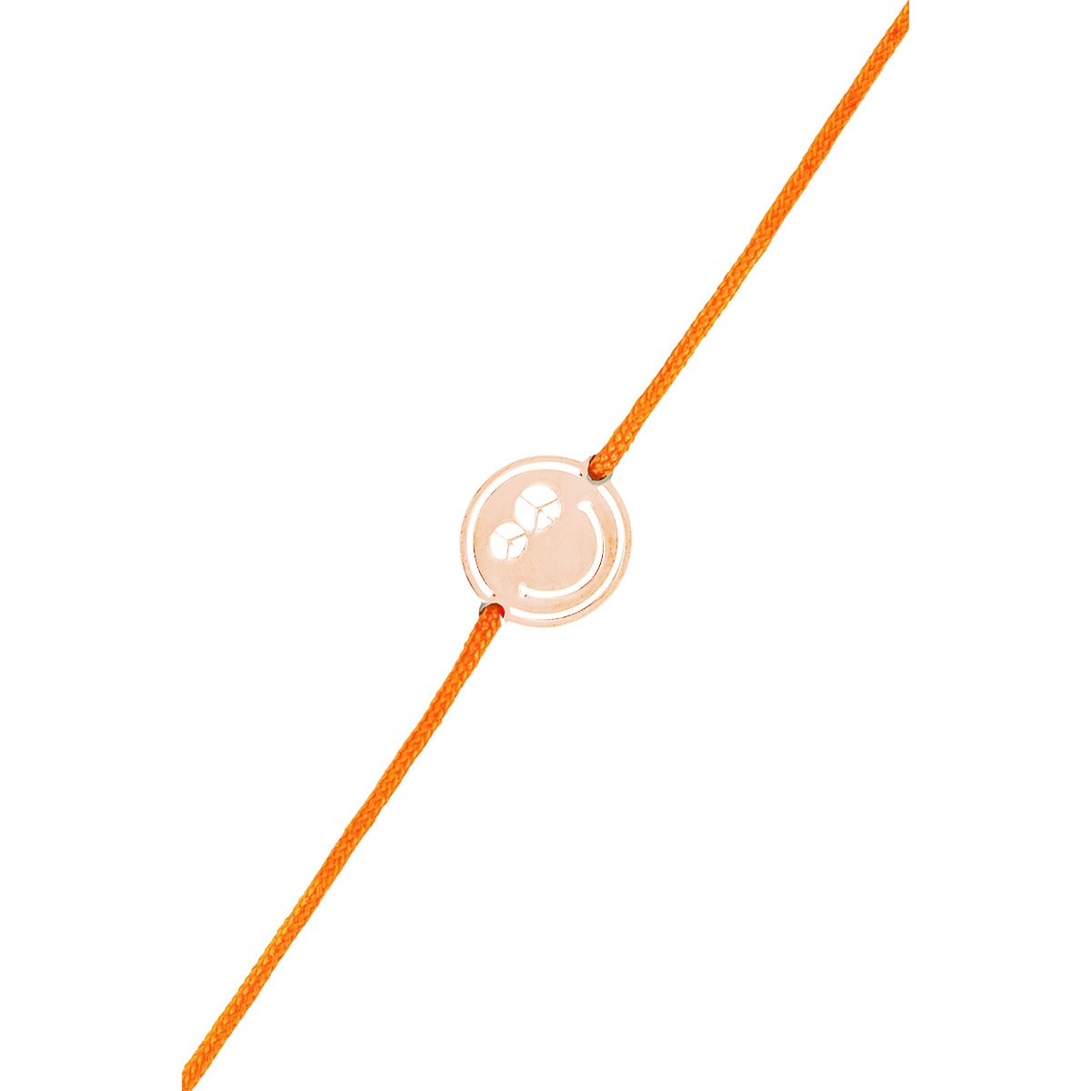 "Bracelet cordon Smiley vermeil rose et cordon orange ""Peace & Love"""