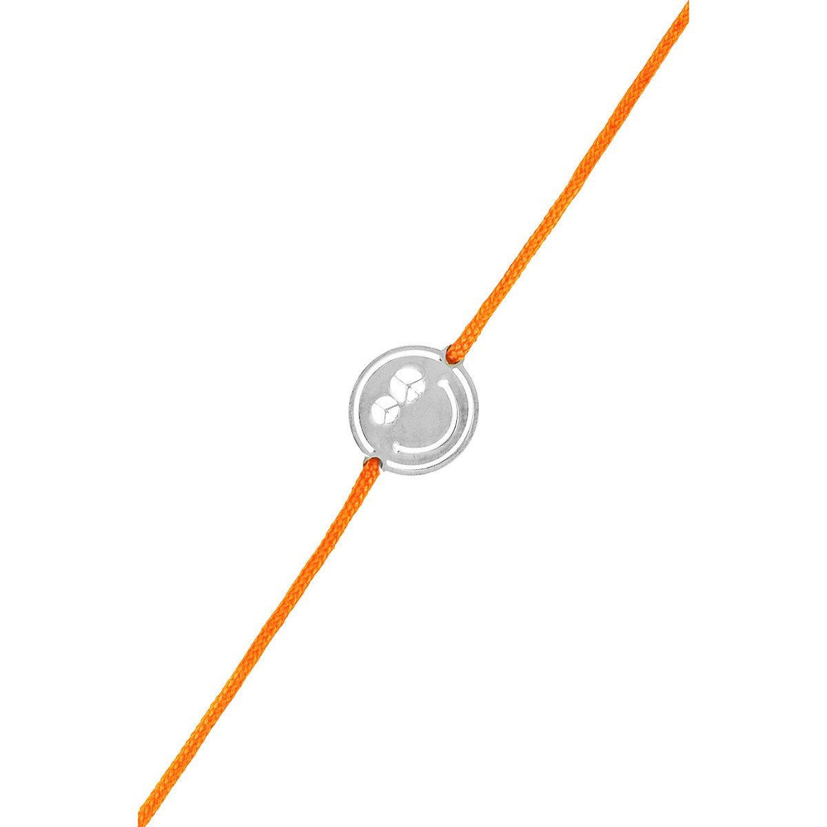 Bracelet Femme Smiley Peace & Love Cordon Orange En Argent 925