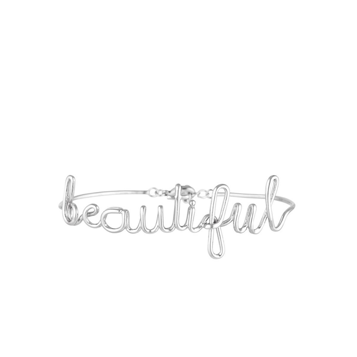 """""""BEAUTIFUL"""" Bracelet jonc en fil lettering argenté à message"""